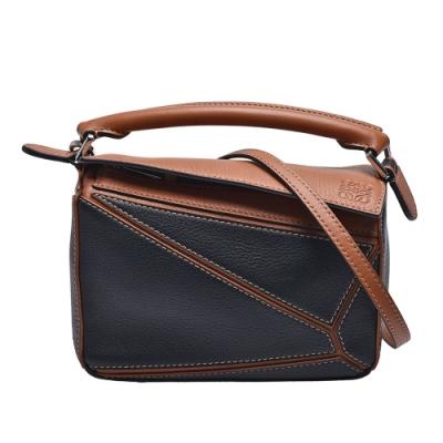 LOEWE PUZZLE BAG系列小牛皮幾何拼接設計手提/肩背包(迷你-焦糖棕/黑)