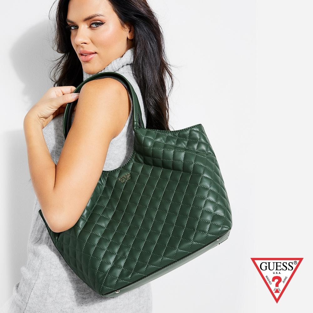 GUESS-女包-時尚菱格壓紋托特包-綠 原價3890