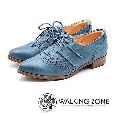 WALKING ZONE (女)限量 柔軟真皮尖頭復古風牛津鞋-藍(另有粉卡其)