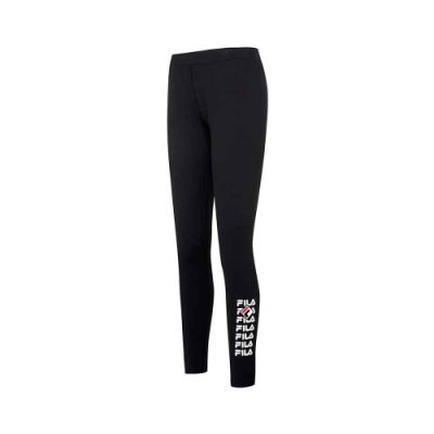 FILA 女抗UV吸濕排汗合身長褲-黑 5PNU-5314-BK