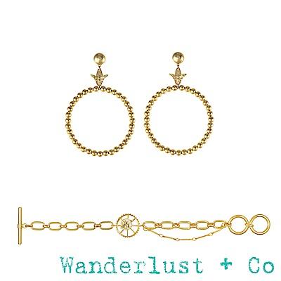 [時尚套組] Wanderlust + Co蜜蜂圓圈耳環+蜜蜂手鍊