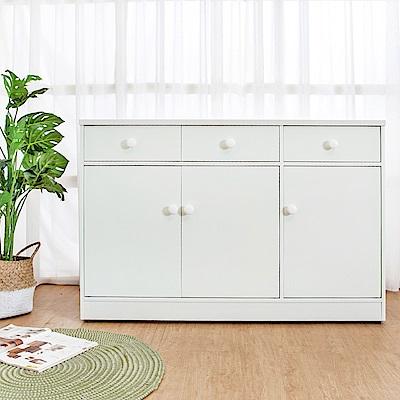Birdie南亞塑鋼-4.2尺三門三抽塑鋼電器櫃/收納餐櫃(白色)-126x41x84cm