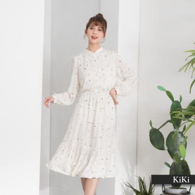 【KiKi】浪漫波浪下襬-洋裝(白色/版型顯瘦)