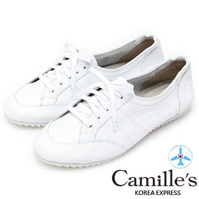 Camille's 韓國空運-全真皮復古綁帶小白鞋-白色