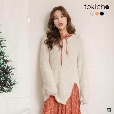 東京著衣 甜美女孩圓領落肩下擺開岔毛毛多色長版上衣