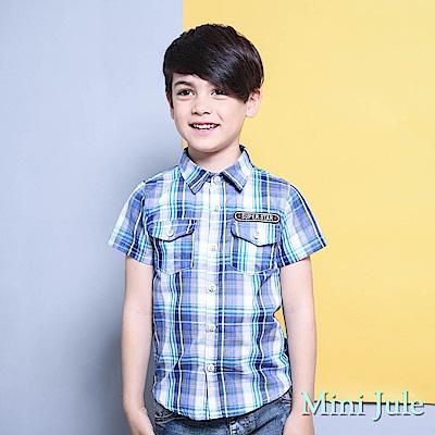 Mini Jule 上衣 雙口袋字母貼布短袖襯衫(藍)