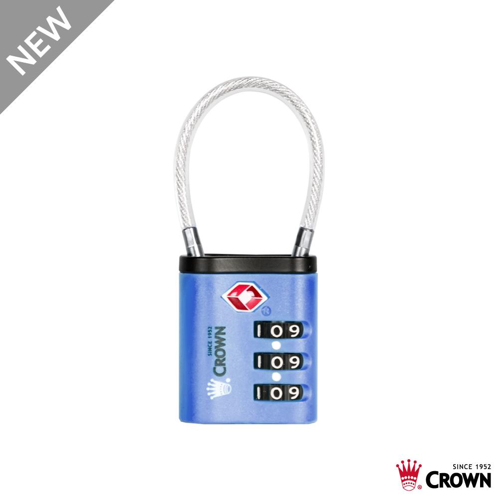 CROWN 皇冠 TSA 密碼纜線海關鎖 藍色