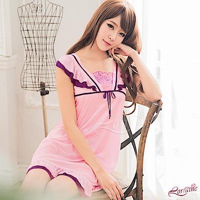性感睡衣 甜美粉紫雙色小蓋袖柔緞睡衣(粉紫F) Lorraine