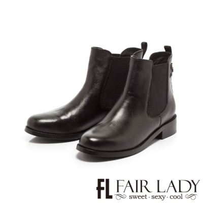 Fair Lady簡約後扣鬆緊帶切爾西短靴 黑