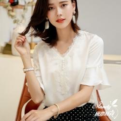 Mandy國際時尚 喇叭袖蕾絲V領雪紡短袖上衣_預購【韓國服飾】