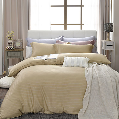 LASOL睡眠屋-100%奧地利天絲 雙人兩用被床包四件組自然純色晨曦金