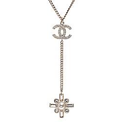 CHANEL 經典雙C水鑽鑲嵌造型墜飾項鍊(金)