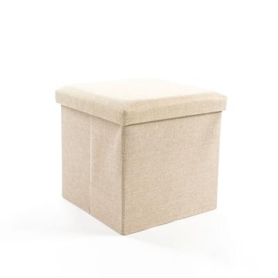 樂嫚妮 亞麻折疊收納椅凳/收納箱-38X38X38cm-米