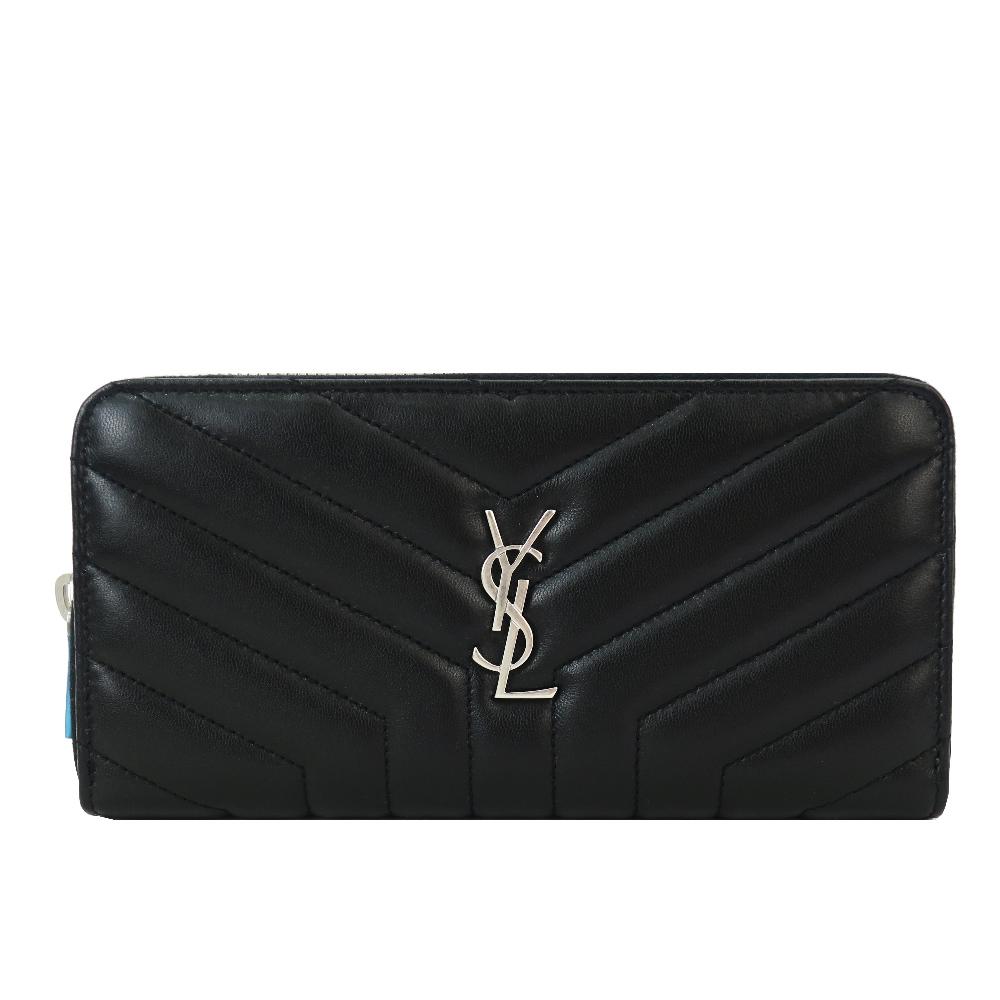 YSL MONOGRAM系列 Y車線羊皮銀釦拉鍊長夾(黑) @ Y!購物
