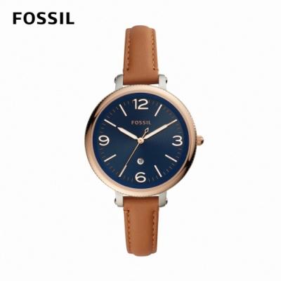 FOSSIL Monroe 婉約氣質女錶 棕色真皮皮革錶帶 38MM ES4923