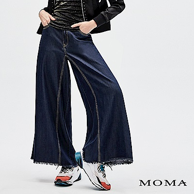 MOMA 黃壓線薄牛仔寬褲