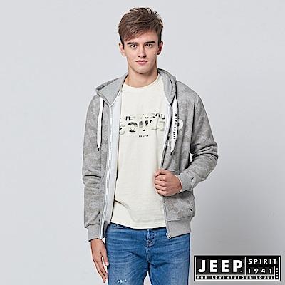 JEEP 普普迷彩刷毛連帽外套-灰色