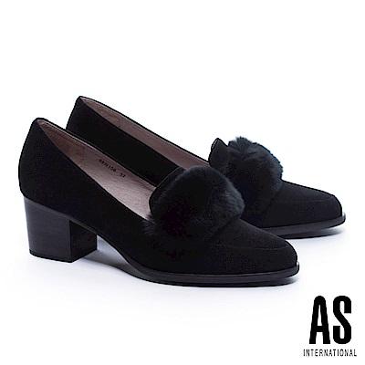 高跟鞋 AS 奢華暖意兔毛條帶羊麂皮粗跟高跟鞋-黑