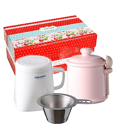 ZERO JAPAN 陶瓷儲物罐(桃子粉) 泡茶馬克杯(白)超值禮盒組