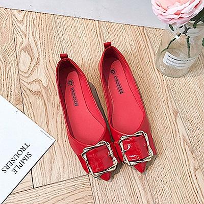 韓國KW美鞋館 輕柔好感印象樂活舒適平底鞋-紅色