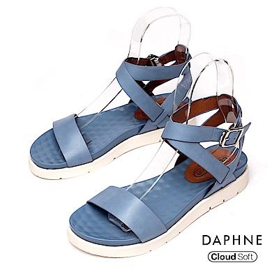 達芙妮DAPHNE 涼鞋-簡約繞踝一字帶雲軟厚底涼鞋-藍色