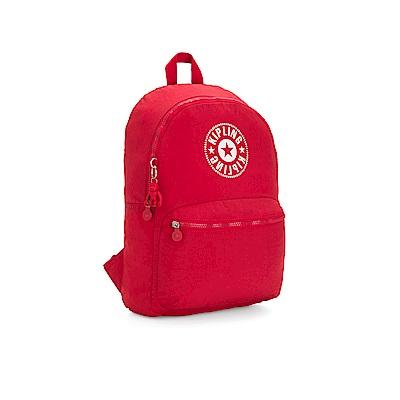 Kipling 活力紅品牌經典圓標休閒雙肩後背包-KIRYAS