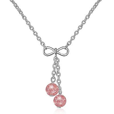 Angel 氣質簡約蝴蝶結草莓晶月光石極致項鍊2色可選