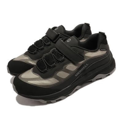 Merrell 戶外鞋 Moab Speed Waterproof 童鞋 魔鬼氈 緩震 能量反饋 耐磨抓地 黑 灰 MK265423