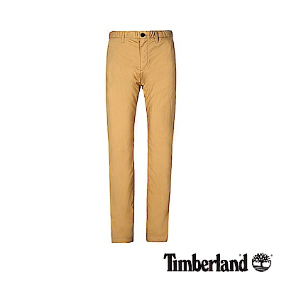 Timberland 男款冰咖色超輕薄彈力府綢修身經典卡其褲|A1WCK