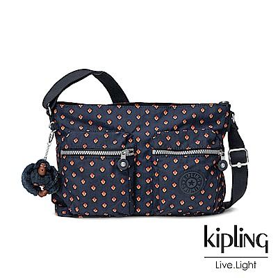 Kipling紅黃幾何印花側背包-CORALIE