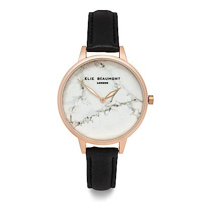 Elie Beaumont 英國時尚手錶 大理石系列 白錶盤x黑皮革錶帶x玫瑰金框38mm
