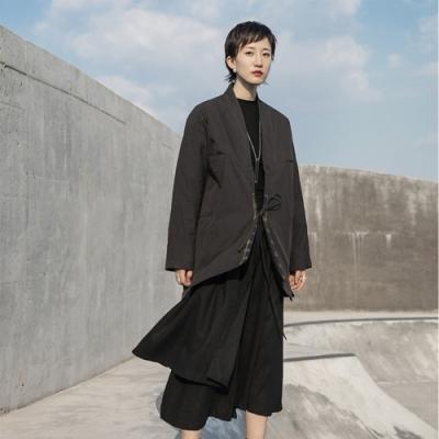 設計所在Style-做舊做髒和服綁帶格子裝飾復古棉衣外套