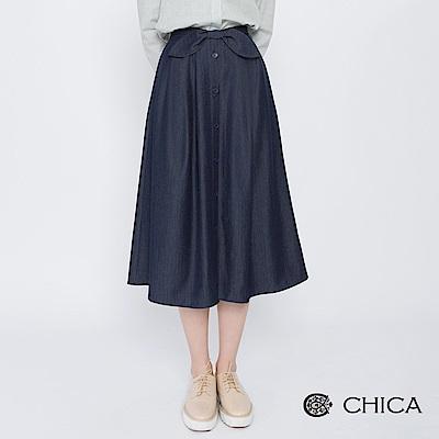 CHICA 甜美日記蝴蝶結排釦傘襬中長裙(2色)