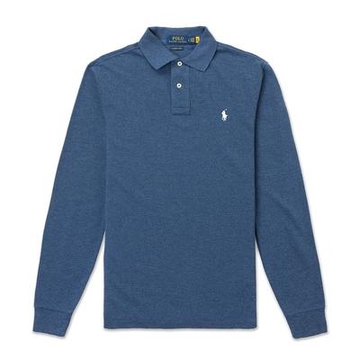 Polo Ralph Lauren 年度熱銷刺繡小馬長袖POLO衫(CUSTOM SLIM FIT)-麻花藍色
