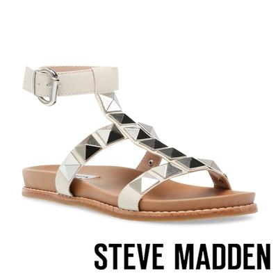 STEVE MADDEN-DAFT 鉚釘繞踝平底涼拖鞋-米白色