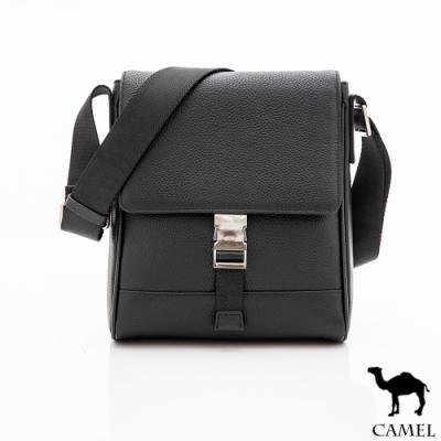 CAMEL - 經典鹿紋正牛皮直式休閒翻蓋側背包