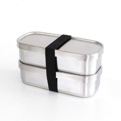 日本製 AIZAWA/相澤工房 經典雙層不鏽鋼便當盒 附束帶500mlx2