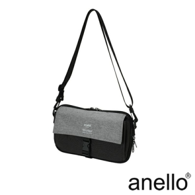 anello THE DAY 多收納輕巧斜背包 黑色x灰色