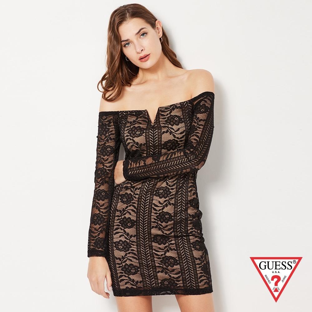 GUESS-女裝-蕾絲拼接平口洋裝-黑 原價2490
