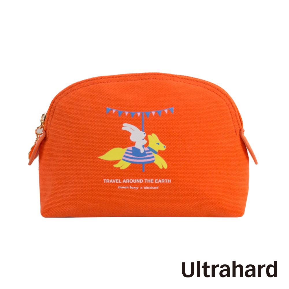 Ultrahard 月見兔貝殼化妝包/收納包-騎木馬(粉橘)