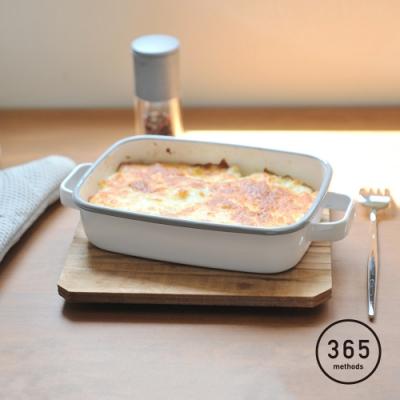 日本365methods 雙耳長形琺瑯烤盤(附蓋)-900ml (適用冷藏/冷凍)