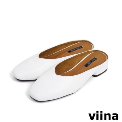viina Basic方頭素面穆勒鞋 - 白
