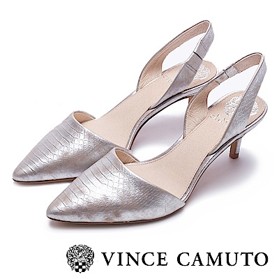Vince Camuto 真皮素面典雅尖頭中跟鞋-銀色
