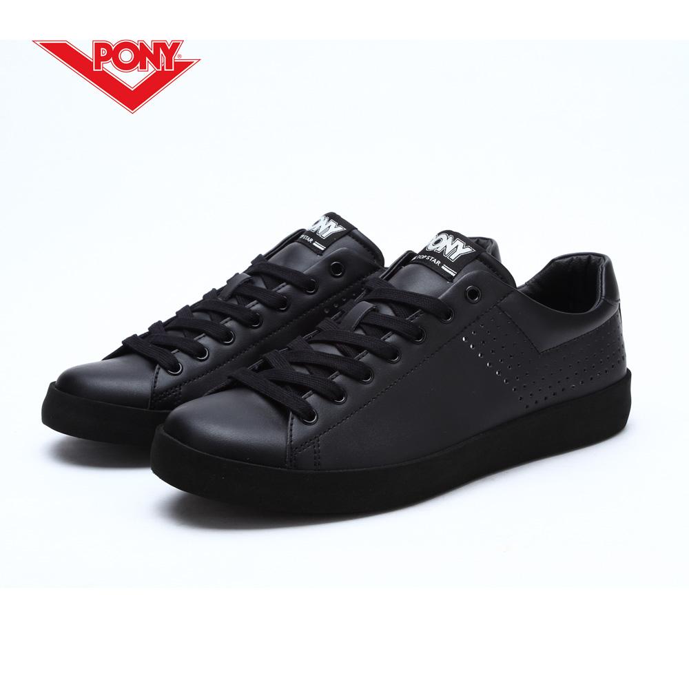 【PONY】TOP STAR 時尚皮革百搭情侶款小白鞋休閒鞋 運動鞋男鞋 黑