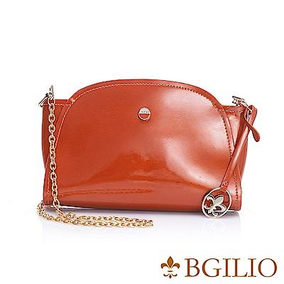 義大利BGilio-經典漆亮牛皮元寶小包-橘色1970.001B-11