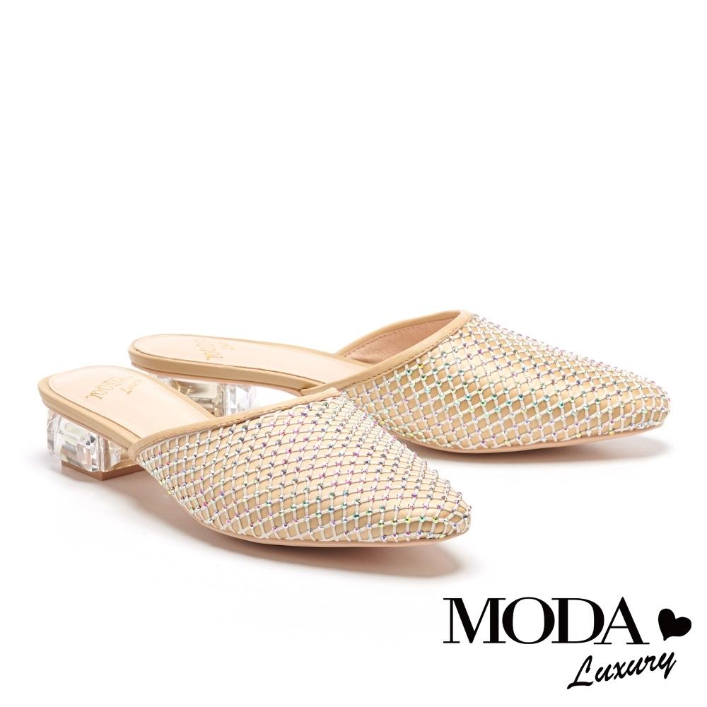 拖鞋 MODA Luxury 別致時髦異材質堆疊穆勒低跟拖鞋-米