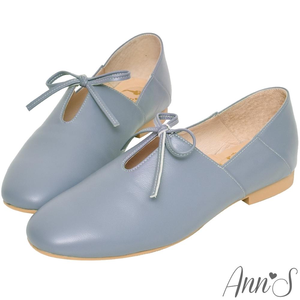 Ann'S超柔軟綿羊皮-芭蕾蝴蝶結兩穿穆勒平底便鞋-藍