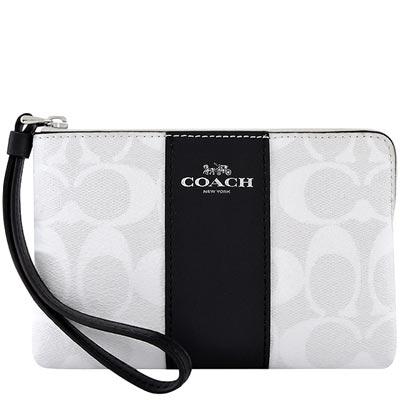 COACH 銀白色大C PVC手拿包
