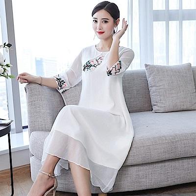 中國風雅致圓領刺繡洋裝S-2XL(共四色)-M2M