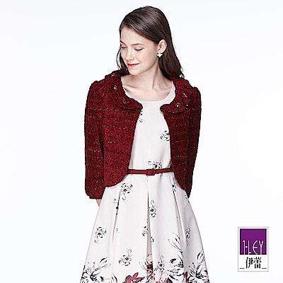 ILEY伊蕾 優雅奢華荷領短版外套(藍/紅)